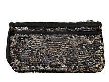 Victoria Secret Sequin Black Silver Makeup Bag Zip Closure New