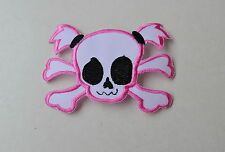 Pink Skull with Crossbones, parche, aufbügler, Patch, badge, rockabilly, Bow