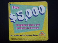 CLUB KENO BONUS CASH PRIZES PLUS $5,000 SHOPPING SPREES AND JACKPOTS COASTER