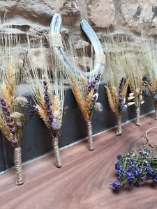 Dried Bespoke Wedding Buttonholes Rustic Country Purple Flowers Lavender Heather