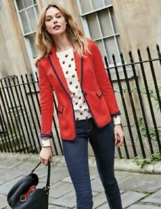BODEN LADIES GORGEOUS Picardy Tipped Blazer RED T0039 BRAND NEW RRP £120