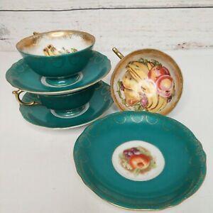 Set Of 3 VTG Royal Sealy Tea Cups & Saucers Green Fruit Design Gold Guild Japan