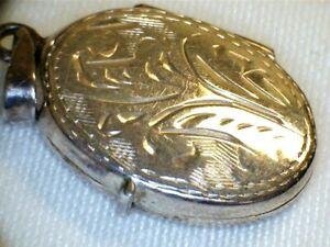 Vintage Silver Oval Locket Engraved 2cm 2.4grams B84 J14