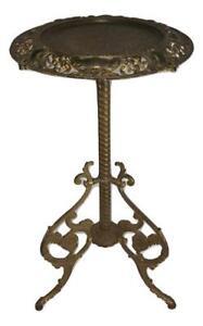 Antique BRADLEY & HUBBARD Cast Iron Brass Art Nouveau Plant Stand Pedestal Table