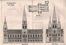 1881 ANTIQUE ARCHITECTURAL PRINT- A CATHOLIC CHURCH