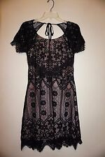 For Love and Lemons Lyla open back mini dress black lace sz M NWT