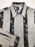 Wrangler Mens Western Shirt Size XL Southwestern Pearl Snap Aztec Striped Print