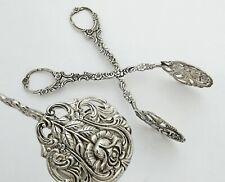 German .800 Silver Cake, Pastry or Asparagus Serving Tongs - Hildesheimer Rose