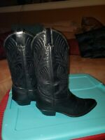 Womens Black Leather Cowboy Boots Code West Size 6M Stitching 45170 Good Looking