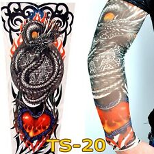 Dragon Heart Slip on Nylon Elastic Stocking Fake Arm Temporary Tattoo Sleeves