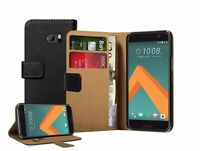 Wallet Black Leather Flip Case Cover Pouch Saver For HTC 10