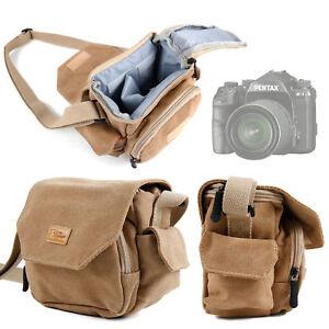 Vintage Light Brown Medium Canvas Carry Bag / Case for Pentax K-1 SLR Camera