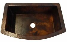 Rounded Apron Front Farmhouse Kitchen Single Well Mexican Copper Sink Dark #09