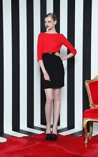 Alice + Olivia IRA Red Black Belted Sheath Cutout Back Mini Dress SZ 2