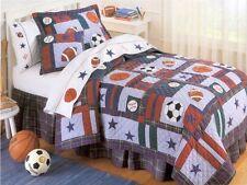 NEW All Sports Baseball Soccer Boys Kids Bedding Quilt Sham Bedskirt, TWIN 3PC