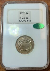 1872 Two Cent Piece NGC PF65RB CAC*Nice Coin*