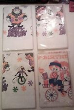 4 Vintage 60s/70s Retro raggedy Ann / Circus  Happy Birthday Paper Tablecloths