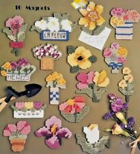 "1989 ""Floral Magnets In Plastic Canvas"" Pattern Booklet 16 Designs Fridge 6170F"