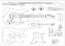 Fender Strat  Hss  electric GUITAR PLANS  - Full scale  detailed