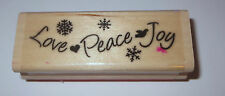 Love Peace Joy Rubber Stamp Snowflakes Heart Dove Holidays Winter