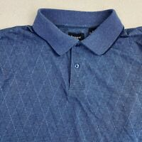 Haggar Polo Shirt Mens 2XL Blue Short Sleeve Cotton Blend Geometric Casual Polo