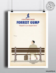 FORREST GUMP - Minimalist Movie Poster by Posteritty Minimal Print Hanks Bubba