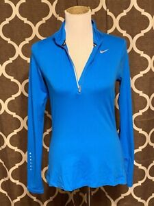 NIKE Running Dri-Fit Half Zip Pullover Blue Women's Size Small