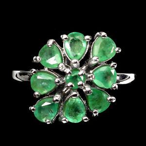 Unheated Pear Emerald 4x3mm 14K White Gold Plate 925 Sterling Silver Ring 8.5