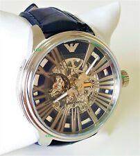 Emporio Armani Mens Watch Meccanico Silver Case Dial Skeleton AR 4629 Genuine