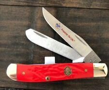 Case xx Boy Scouts Mini Trapper Knife Jigged Red Delrin Pocket 07998