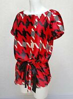 NEXT red black white satin Boat neck short sleeve Drawstring peplum blouse sz 10