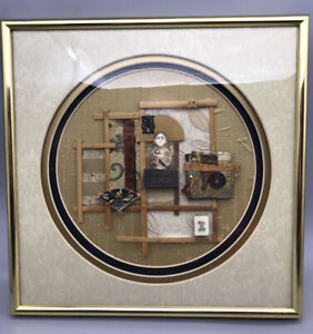 Asian-Inspired Shadow Box Artwork by Jo Nelson Mixed Media Collage 3D