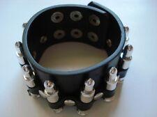 Black Leather Bracelet Bullet Checkered Studded