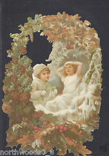 FOREST ICE SNOW CHILDREN WREATH GERMANY EMBOSSED SINGLE PAPER  SUPPLIES ORNAMENT
