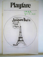JACQUES BREL IS ALIVE AND WELL Playbill ELLY STONE / MORT SHUMAN NYC 1970