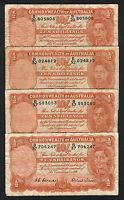 Australia R-15. (1952) 10 Shilling - Coombs/Wilson x 4 Notes..  VG-Fine