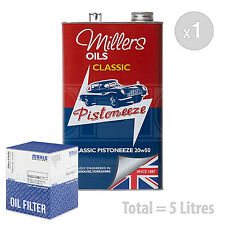 Engine Oil and Filter Service Kit 5 LITRES Millers Oils Pistoneeze 20W-50 5L