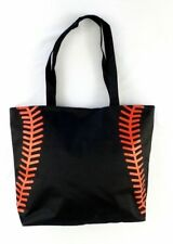 NEW Black Baseball Stitch Totes Shopping Bag Tote Mom Purse Carrier Lined Beach