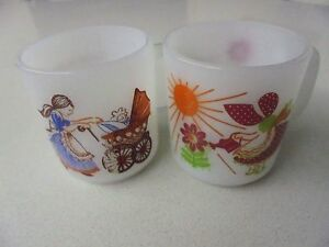 Glasbake Coffee Cups Pictured Cups #29 Everything Grows #17 Love is another Name
