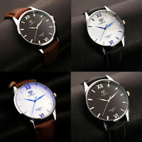 Men Waterproof Stainless Steel Case Leather Band Quartz Analog Wrist Wrist Watch