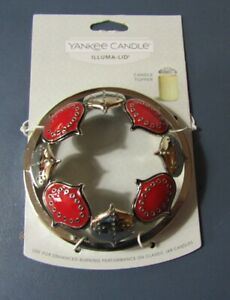 Yankee Candle Illuma-lid jar topper Holiday Ornaments in Red & Silver New