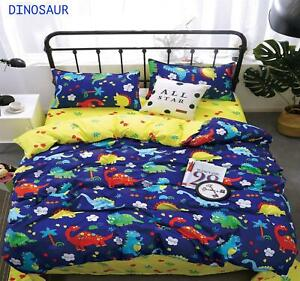 Single Double Sized Dinosaur Duvet Cover Set Pillow Case Cozy