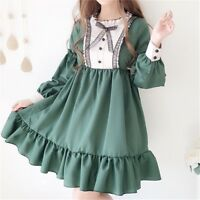 Japanese Women Girl Lolita Dress Retro Ruffles Princess Puff Sleeve Kawaii New