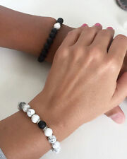 Couples Braceles Matte Agate White Howlite Beaded For Lovers His & Her Matching