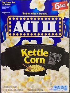 NEW ACT II KETTLE CORN 6 BAGS 16.5 OZ (468g) BOX MICROWAVE POPCORN SWEET & SALTY
