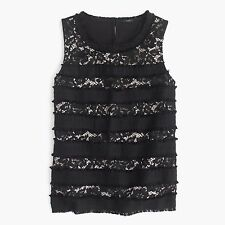 NWT J.Crew Fringey Top In Tweed And Lace Black tank shirt L G0356 $78 LARGE