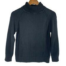 Karen Scott Petites Black Roll Neck Cotton Pullover Raglan Sleeve Sweater size M
