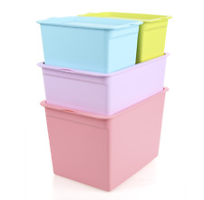 Plastic Storage Boxes Baskets Bins Tote Stacking Container Organizer Lid 4 Pack