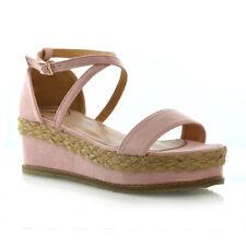 Womens Platform Cork Espadrille Wedge Sandals Ladies Ankle Strap Shoes Size 3-8