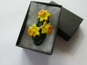 Handmade Yellow Spring Daffodil Brooch Pin - Marie Curie Donation Charity - UK